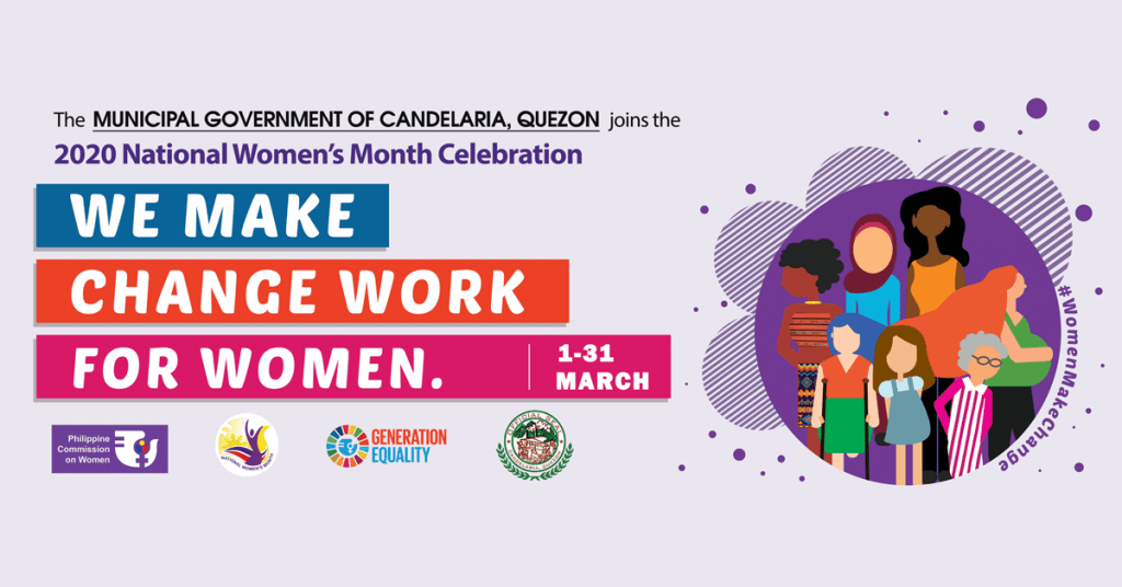The Municipal Government of CANDELARIA, QUEZON joins the 2020 National Women's Month Celebration!